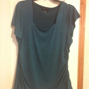 AB Studio teal flutter sleeve top.
